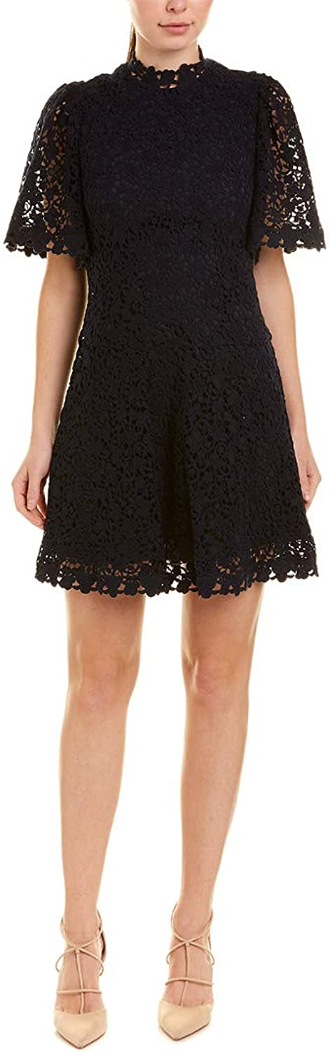 Rebecca Taylor Navy Floral Lace Short Sleeve Dress