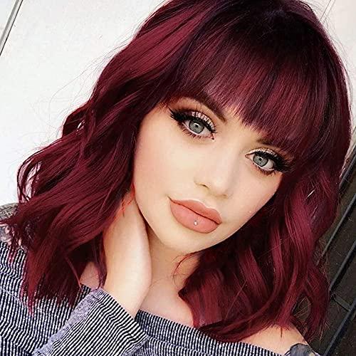 Utapossin Peluca Mujer Onda Natural con Flequillo, Pelucas Pelo Ondulado Peluca Roja, Pelucas Rizadas Cortas, Pelucas Mujer Corta Ondulada Vino Rojo Pelo Natural con Flequillo