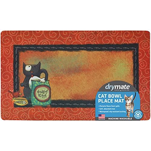 Drymate Cat Bowl Placemat, Pet Food Feeding Mat - Absorbent Fabric, Waterproof Backing,...