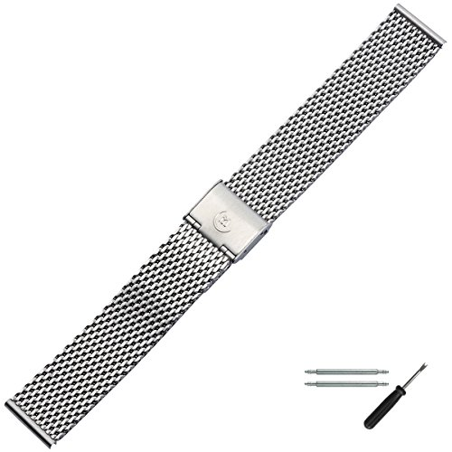 MARBURGER Uhrenarmband 18mm Mesh Edelstahl Silber - Werkzeug Montage Set 84907180020