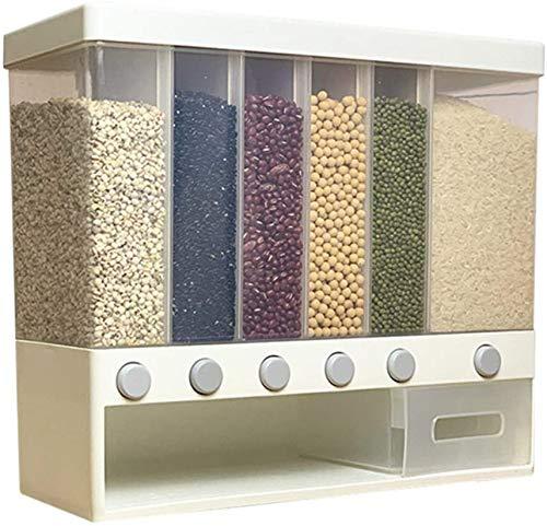 AIYIXUE Dispensador de cereales para montaje en pared, caja de almacenamiento de dosificación automática para alimentos secos de cereales sellados, contenedor de arroz con varios compartimentos