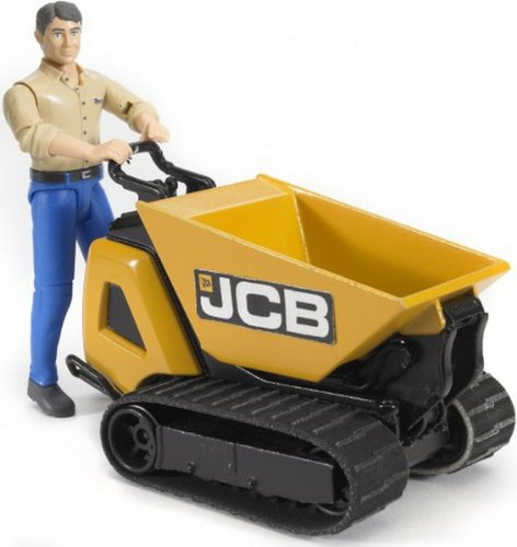 Bruder - 62004 -Véhicule Miniature - Mini Dumper JCB HTD-5 + Personnage Chemise Verte/Pantalon Marron