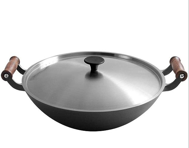 Pot en Fonte 36cm Fond Plat sans revêtement épaississant antiadhésif Cuisson Wok cuisinière à gaz cuisinière à Induction,Stainlesssteelcover