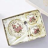 LOYWT Juego de Taza y platillo de café Miaojin Hogar Inglés Flor de cerámica Té de la Tarde Taza de té-Rose Set_2 Taza 2VCD 2 Cuchara Caja de Regalo