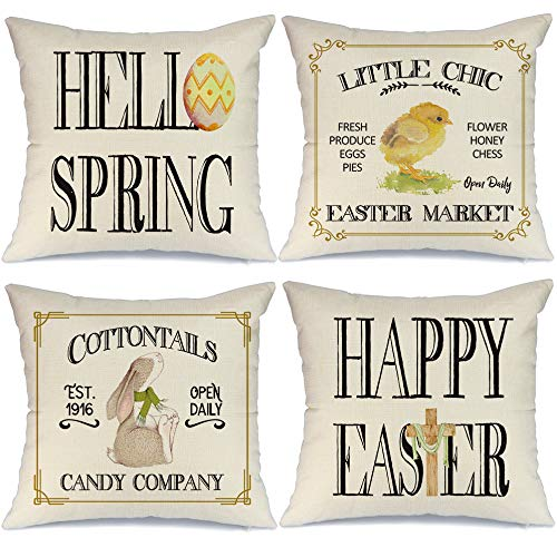 AENEY Easter Pillow Covers 18x18 Set of 4 Easter Decor for Home Happy Easter Bunny Easter Egg Peeps Cross Easter Pillows Decorative Throw Pillows Farmhouse Easter Decorations A339-18