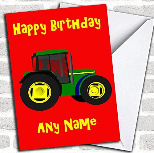 Groene Tractor verjaardagskaart met envelop, kan volledig gepersonaliseerd worden, snel en gratis verzonden