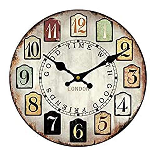 Sweet Home - Reloj de pared para salón, 30,5 cm, diseño vintage francés, estilo toscano, números arábigos - A