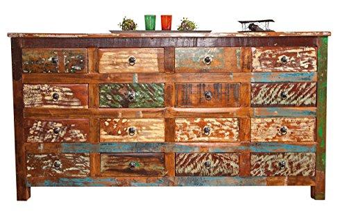 Inter Link 85400120 Kommode Wohnzimmerkommode Wohnzimmer Unikat Mango Recycling shabby 16 Schubladen