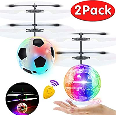 2 Pack Flying Ball Kids Toys RC Flying Toys Hand Controlled Helicopter Infrared Induction RC Flying Light Up Ball for Boy Girl Holiday Christmas Toys Gift Indoor Outdoor Game RC Drone Toy Rechargeable by AMENON