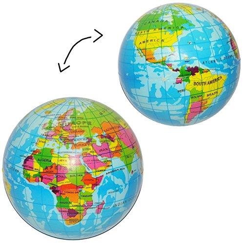 1 Stück _ Knautschball -  Erde / Welt / Globus / Blauer Planet  - Anti Stressball - Softball - für Kinder und Erwachsene / lustiger Ball 8 cm - Fitnessball ..