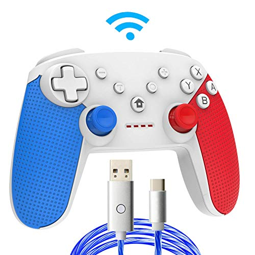 Switch Pro Controller,Wireless Switch Controller for Nintendo Switch, with LED Type C Charging Cable(Blue+Red)