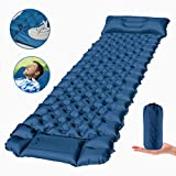 FEELLE Camping Sleeping Pad, Ultralight Backpacking Air Mattress with Pillow 3 Inch Thick Mat Hiking Sleeping Mat for Travelling & Outdoor Activities, Inflatable & Compact