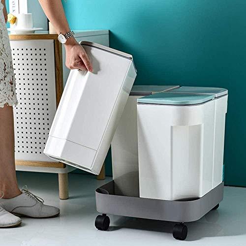 JDBDYA Mülleimer Trennsystem, Küche mülleimer mit Deckel, Wohnzimmer,Trocken und nass Trennung Kreative Abfalleimer, Mülltrennung Mülltrennsysteme, Mit riemenscheiben, Abnehmbare