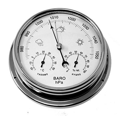 Baromètre Tabic en chrome avec hygromètre et thermomètre intégrés, boîtier en laiton chromé...
