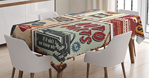 "Ambesonne 1950s Tablecloth, Vintage Car Signs Automobile Advertising Repair Vehicle Garage Classics Servicing, Dining Room Kitchen Rectangular Table Cover, 60"" X 84"", Burgundy"