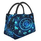Blue Neon Horoscope Circle Portable Impermeable Large Caity Lunch Bag Bolsas de aislamiento térmico