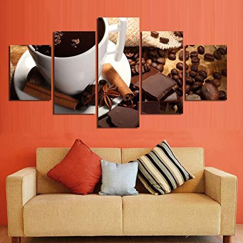 QAZWSY canvas schilderij muurkunst Hd prints 5 stuks decoratie koffie zoete drank modulaire afbeeldingen kunstwerk poster