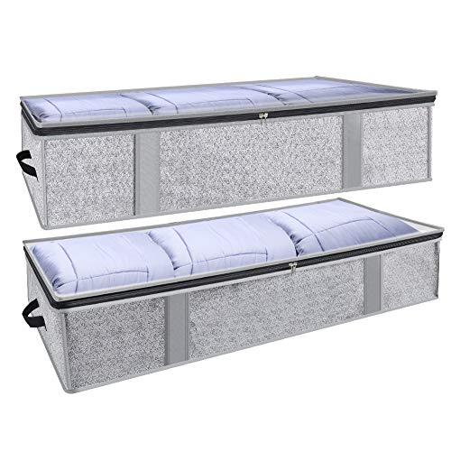 GEEDIAR Unterbett Aufbewahrungstasche - 2 Stück 94L Unterbettkommode Kleideraufbewahrung Atmungsaktiv mit Sichtfenster für Bettwäsche, Kleidung, Decken, Kissen, Bettzeug Faltbare, 104x45x20cm (Grau)