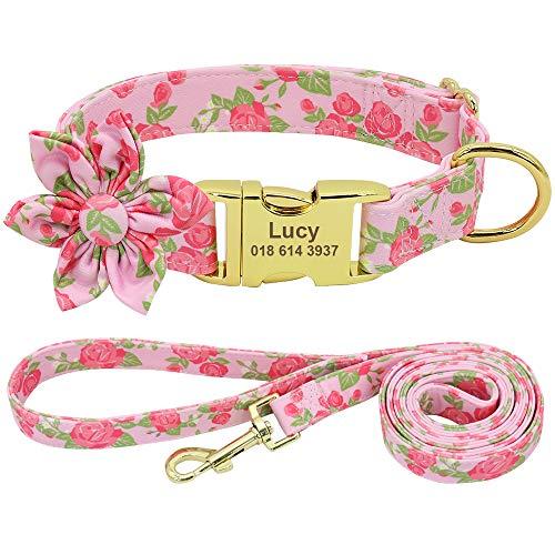 Forestpaw Juego de collar y correa de perro multicolor, collares personalizados, collares de identificación ajustables, para pequeño, mediano, grande, rosa, S
