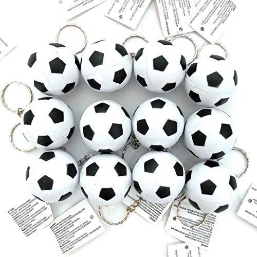 12x Fußball Knautschball schwarz weiß 4 cm als Schlüsselanhänger an Kette