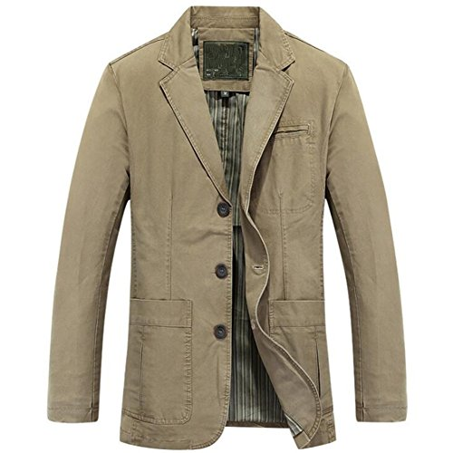 Newbestyle Men's Casual Solid Cotton Twill Suit Three-Buttons Blazer Jacket Deep Khaki Medium