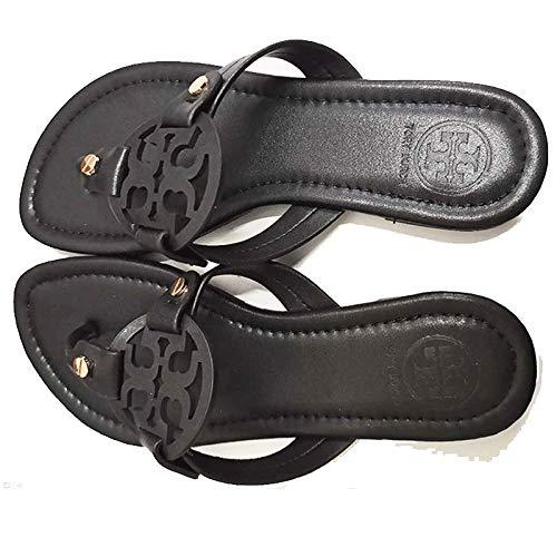 Tory Burch Miller Sandalias planas clásicas con adornos de cuero negro Zapatos calientes Moda