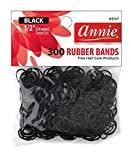 Annie 300 Rubber Bands Small One Size 1/2' Black