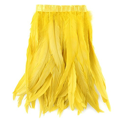 AABABUY 1 Yard Rooster Hackle Feather Trim 10-12 inch in de breedte voor kostuum decoratie Geel