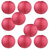 WYZworks Round Paper Lanterns 10 Pack (Red, 12') - with 8', 10', 12', 14', 16' Option