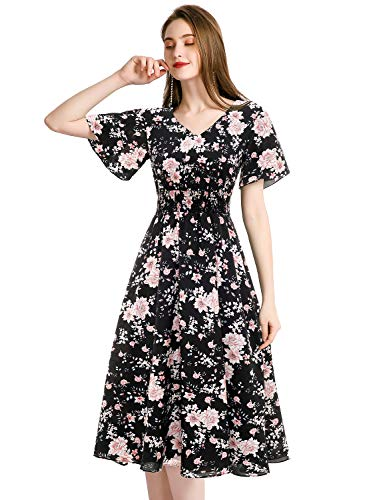 Summer Dresses for Women Flowy Chiffon Floral V Neck Elastic Empire Waist Sun Beach Party Dress Black Flower-1 M