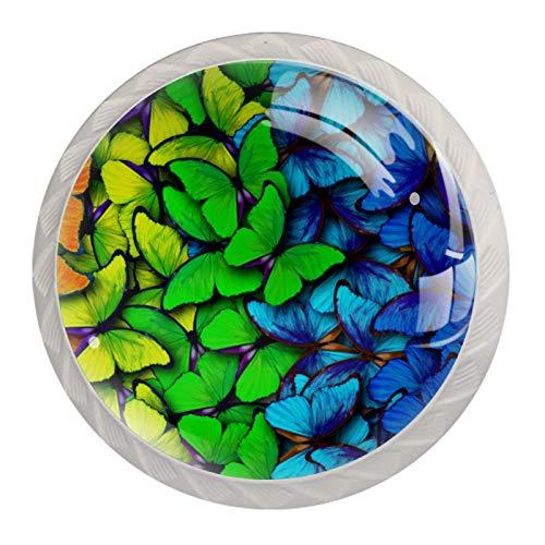 Juego de 4 perillas redondas para gabinetes de vidrio de cristal Insecto mariposa colorida Tiradores coloridos del cajón de la manija de los muebles de las perillas 3.5x2.8cm