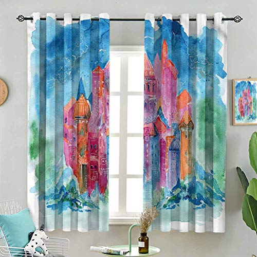 Blackout Window Curtain Medieval Watercolor Castle W72 x L63 Inch (2 Panels) for Indoor Living Dining Room Bedroom
