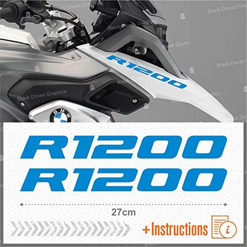 2pcs Adesivi R1200 compatibile con R1200GS R 1200 GS Motorrad Adventure Moto (Azzurro)