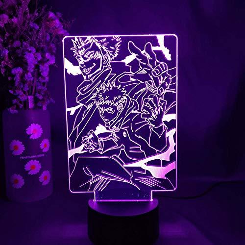 Luzes de ilusão 3D de anime para meninos e meninas Jujutsu Anime Lâmpada noturna para decoração de quarto de aniversário, luminária noturna para decoração de casa Weiej HOICHAN