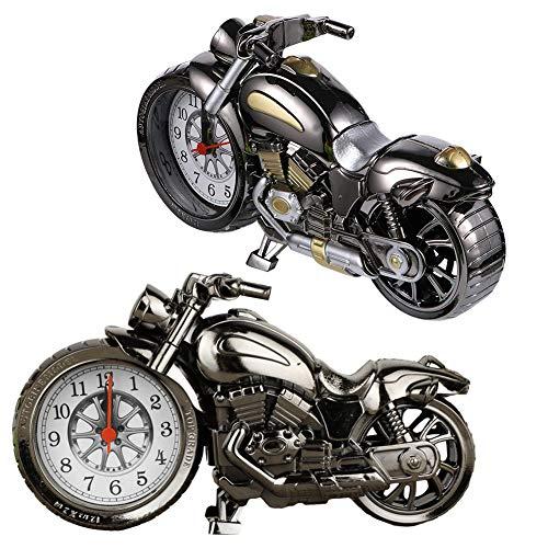 CYSJ 2 PCS Reloj de la Motocicleta Alarma, Relojes de Alarma Adornos de Plástico en Forma de Moto Reloj de Escritorio Retro, para la Decoración de la Oficina en Casa, Estudiantes Adultos Regalos