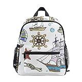 リュック サック キッズ 帆船と舵 海洋元素 海星 バッグパック 女の子 男の子 幼稚園 かわいい 遠足 防水 通園 通学 子供用