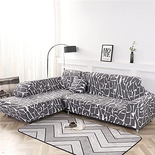 WXQY Funda de sofá elástica geométrica Funda de sofá elástica Fundas para sofá de Esquina seccional en Forma de L Chaise Longue Funda de sofá A14 1 Plaza