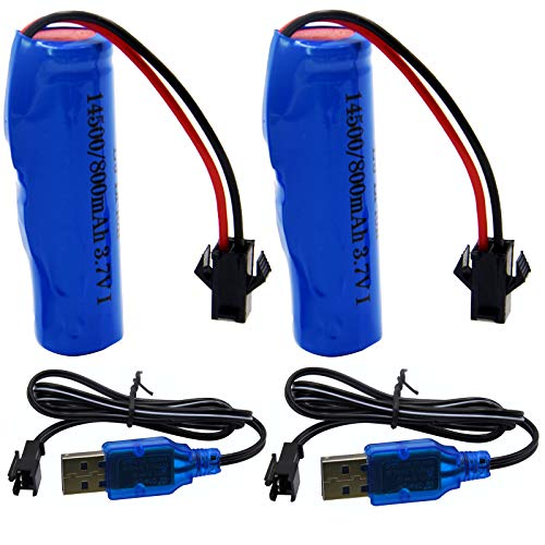 Blomiky 2 Pack 3.7V 500mAh Li-ion Rechargeable Battery SM 2P Plug with USB Charger Cable for Small RC Boat Amphibious RC Car RC Truck and RC Stunt Car C63 Battery and USB 2