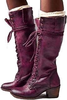 Femme Bottes Vintage Bottines Victoriennes en Cuir Patchwork Chaussures de Ville Hiver Cuissardes Fourrure /à Talons Originales F/ête Cosplay Sonojie 2019