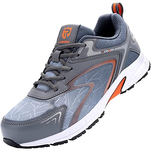 LARNMERN Zapatos de Seguridad con Punta de Acero Hombre Ligero Respirable Anti-Piercing Antideslizante Antiestático Zapatos de Trabajo Calzado de Seguridad Deportivo(Gris Blanco,43) 🔥