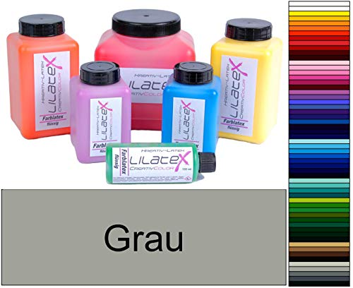 Lilatex 1 Liter farbiges Flüssiglatex/Farblatex/Latexmilch - dünnflüssiges Naturlatex (grau)