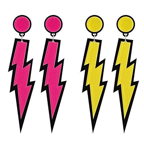 2 Paar 80er Jahre Neon Ohrringe Donner Ohrringe Acryl Ohrringe Retro Ohrringe Mode Ohrringe zarte Ohrringe Kostümzubehör Frauen (Gelb und Rosenrot)