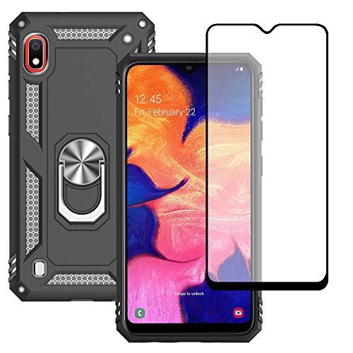 Yiakeng Hülle für Samsung Galaxy A10 Handyhülle, Samsung A10 Hülle, mit Panzerglas Schutzfolie, Stoßfest Schutzhülle Mit Ring Standfunktion Case Cover für Samsung Galaxy A10 (Schwarz)
