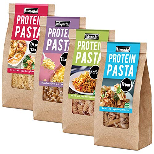 High Protein Pasta, 22g, Made with Lupin Flour & Sunflower Flour, 5g Net Carb, Gluten Free, Keto Pasta, Low Carb Pasta, Lupin Pasta by lulupasta (Variety, Variety 4 Pack)
