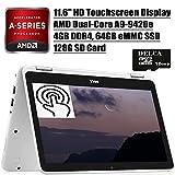 Dell Inspiron 11 3000 2 in 1 Laptop 2020 Premium I 11.6' HD Touchscreen I AMD A9-9420e I 4GB DDR4 64GB eMMC 128G SD Card I Graphics with AMD APU Camera WiFi Win 10 + Delca 16GB Micro SD Card (Renewed)