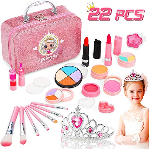 Jojoin 22 piezas Maquillaje Niñas con una Corona, Cosméticos Juguete, Caja de...