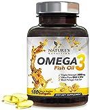 Omega 3 Fish Oil Supplement, 2400mg, High EPA & DHA, Triple Strength Support for Heart, Brain, Joint & Immune Health for Men & Women, Non-GMO & No Gluten, Lemon Flavor - 180 Softgels