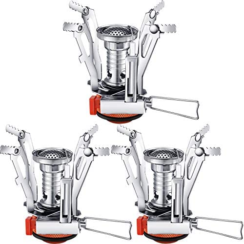 3 Pieces Camping Stove Travel Stove Windproof Backpacking Stove with Piezo Ignition Portable product image