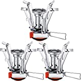 Honoson 3 Pieces Camping Stove Travel Stove Windproof Backpacking Stove with Piezo Ignition Portable...