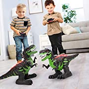 #LightningDeal TEMI 8 Channels 2.4G Remote Control Dinosaur for Kids Boys Girls, Electronic RC Toys Educational Walking Tyrannosaurus Rex with Lights and Sounds Powered by Rechargeable Battery, 360° Rotation Stunt